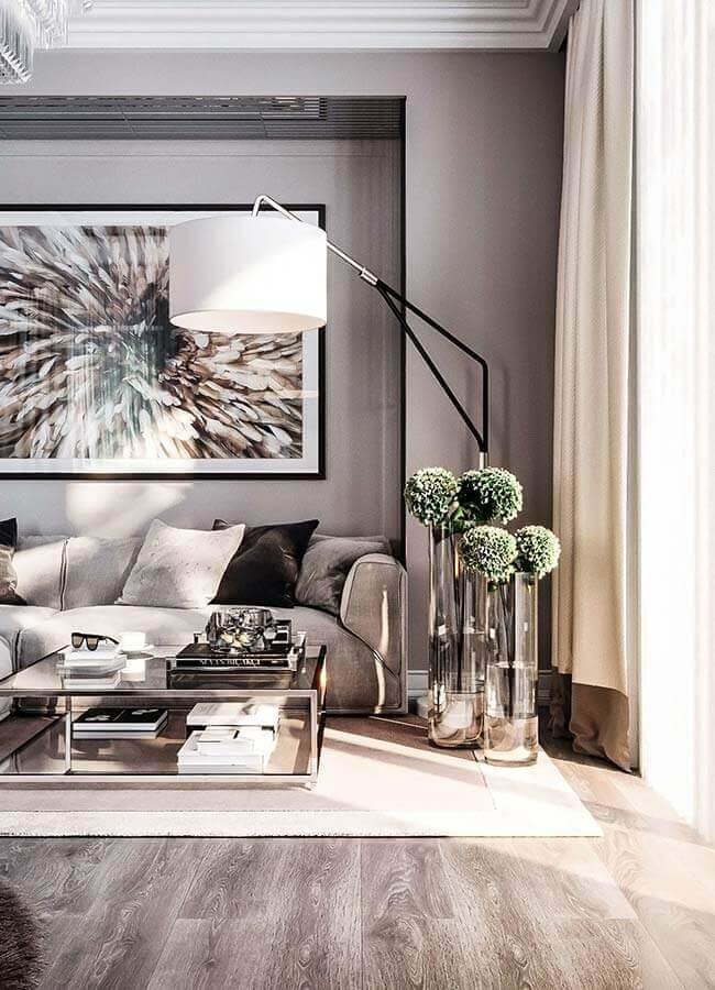 decoração moderna para sala cinza com abajur de chão Foto Pinterest