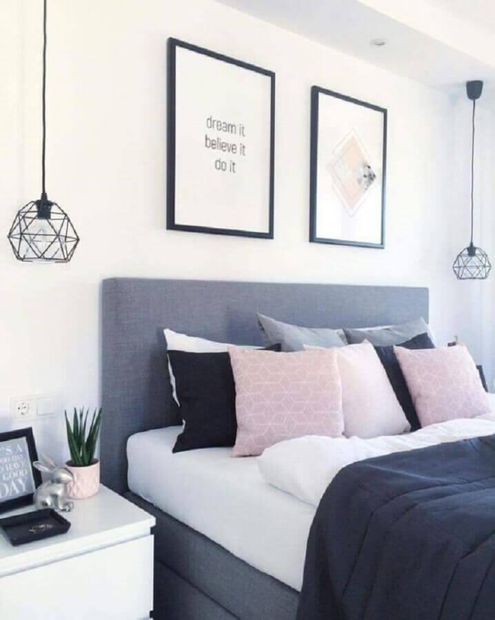 decoração para quartos bonitos cinza e rosa Foto Pinterest