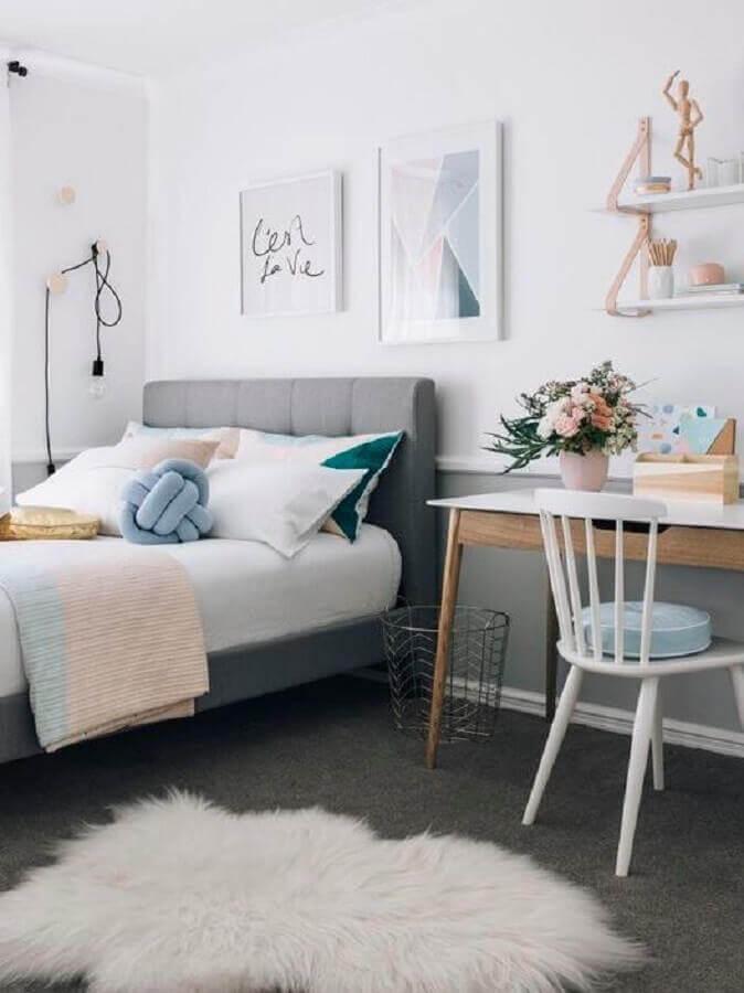 decoração para quartos bonitos de solteiro Foto Manual da Obra