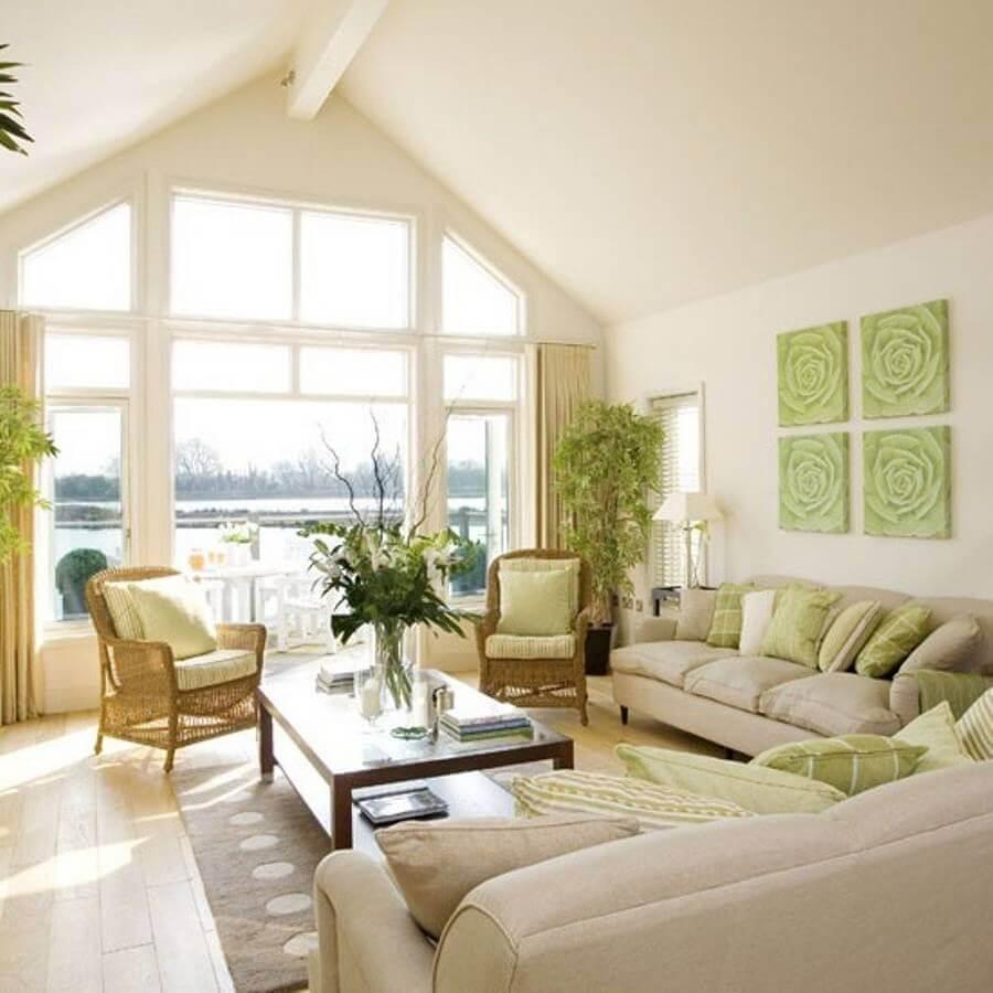 decoração para sala cor creme e verde Foto Pinterest