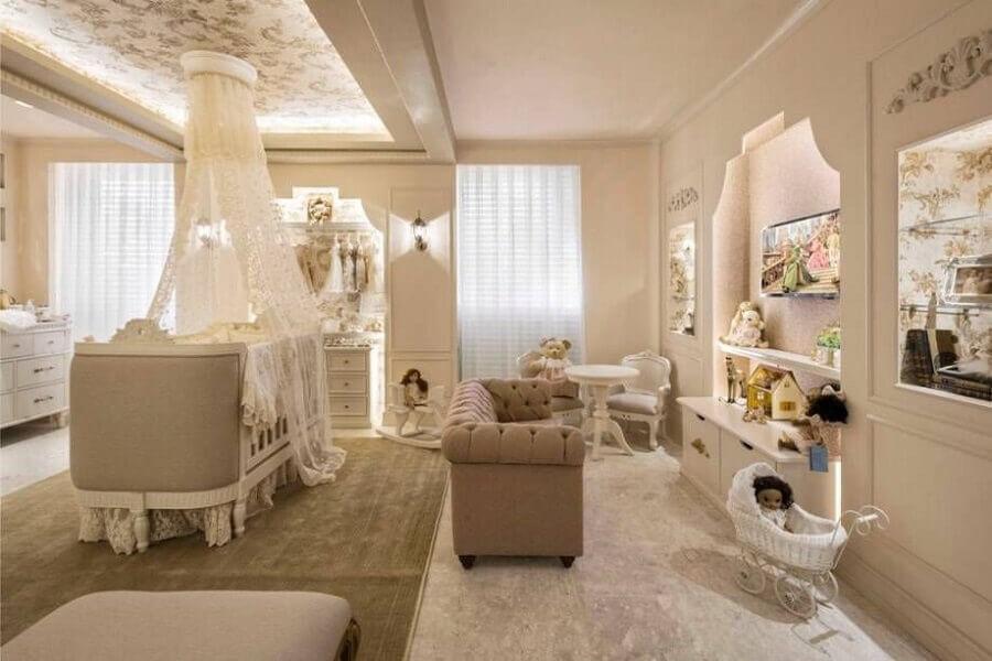 decoração provençal para quarto de bebê planejado amplo Foto Revista VD