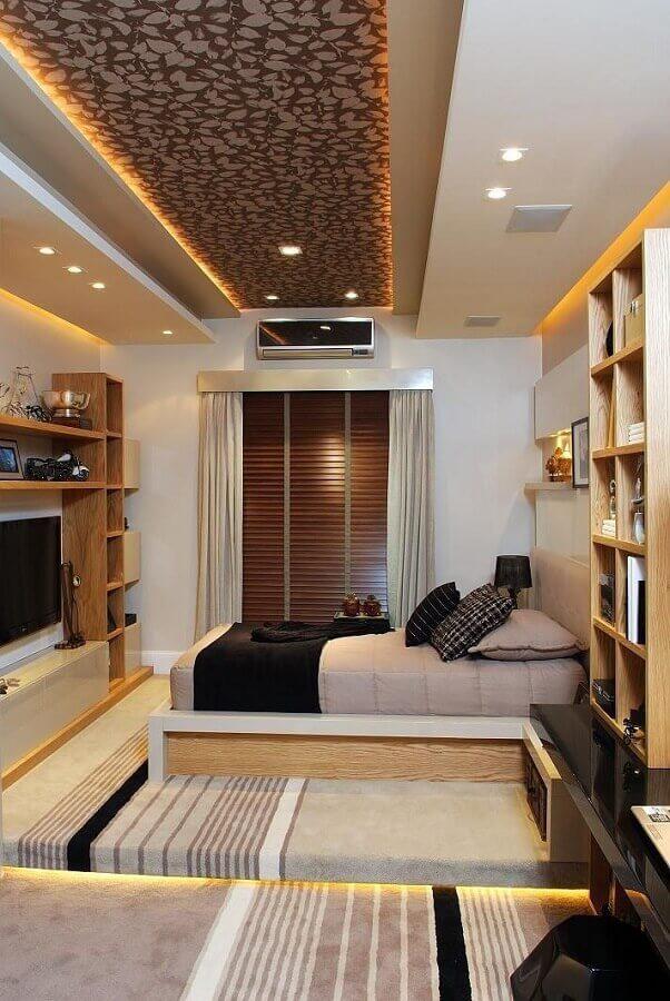 decoração quarto bonito planejado com iluminação com fita de led Foto Futurist Architecture