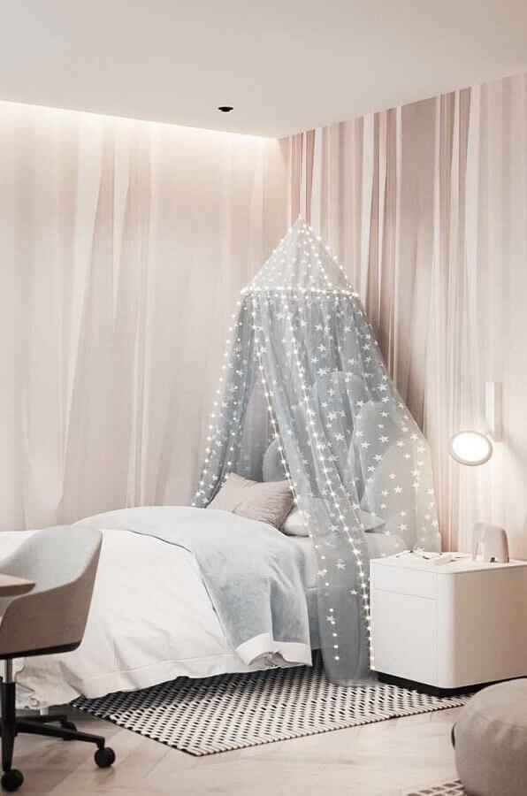 decoração romântica para quarto de solteiro feminino em tons neutros Foto Pinterest