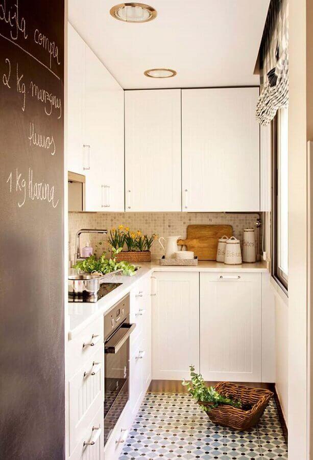 decoração simples cozinha compacta completa em L Foto Pinterest