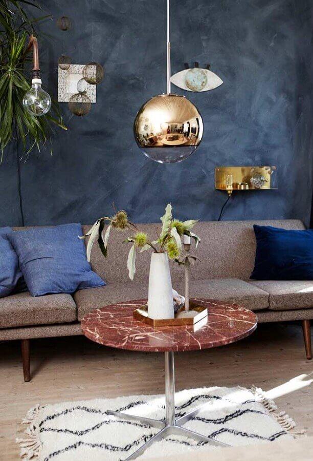 decoração simples de sala azul Foto Móveis Capão Raso