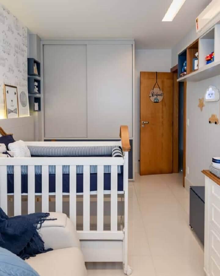 decoração simples para quarto de bebê planejado menino Foto Artcom Móveis Planejados
