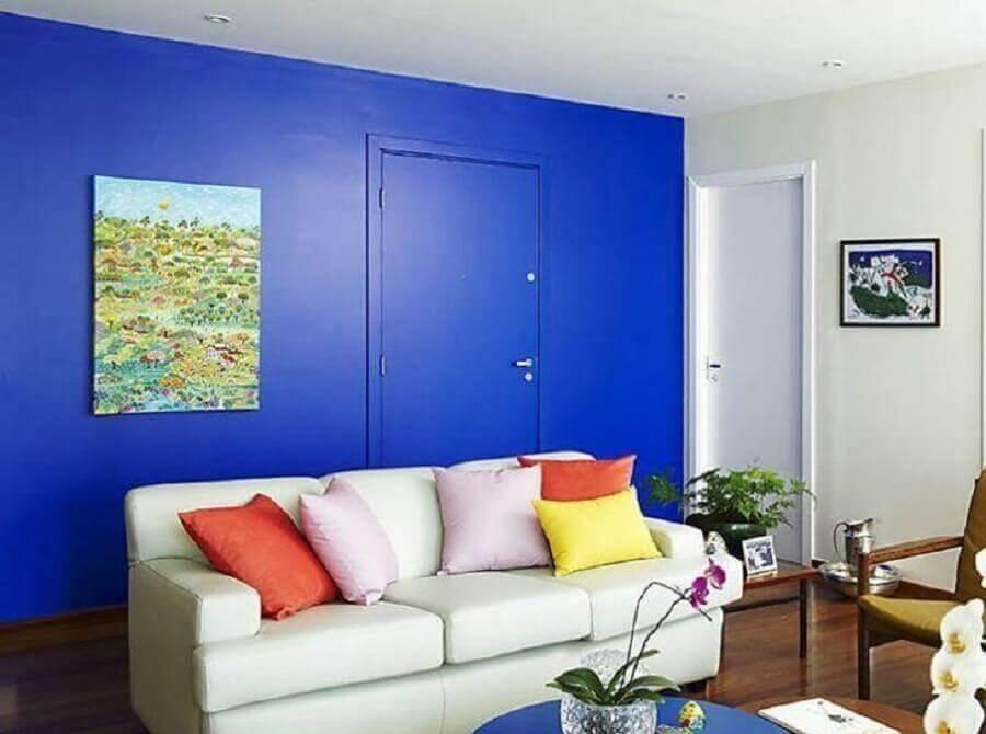 decoração simples para sala azul e branca Foto Pinterest