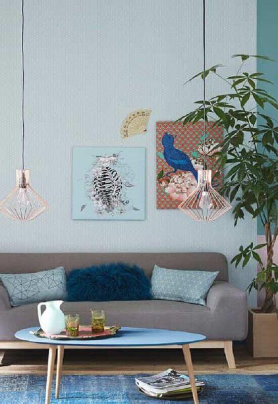 decoração simples para sala azul e cinza Foto Pinterest