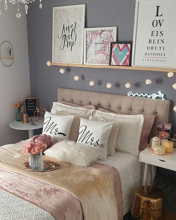 Quarto com decoração romântica