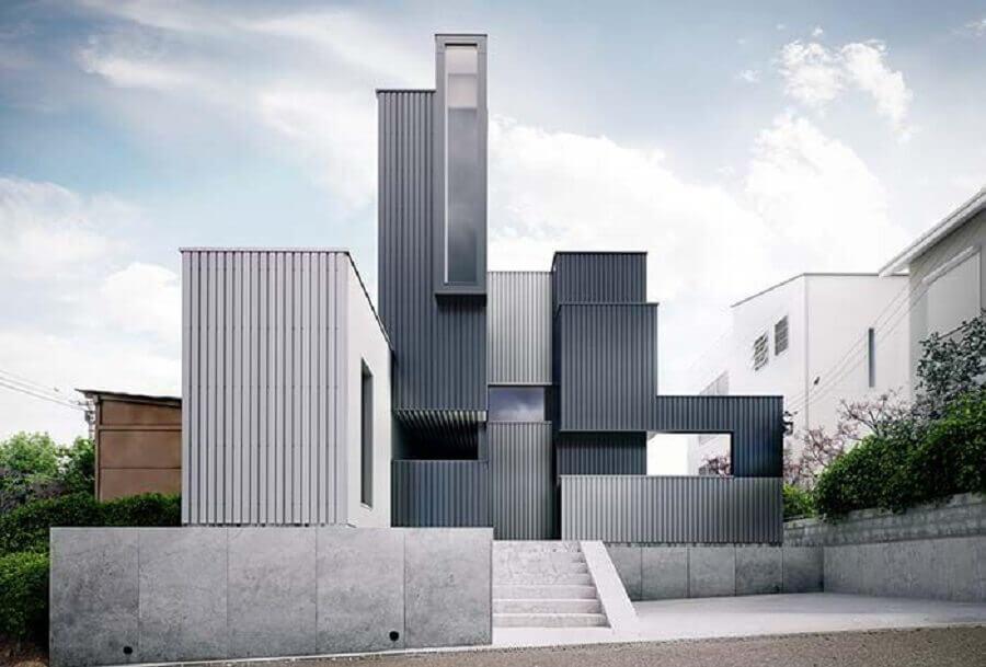 fachada cinza chumbo com arquitetura contemporânea Foto Revista VD
