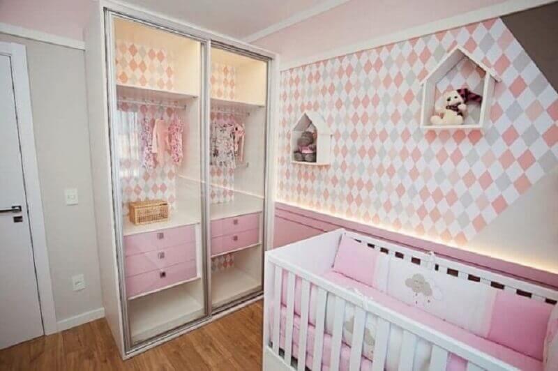 guarda roupa com porta transparente para quarto de bebê planejado menina Foto Pinterest