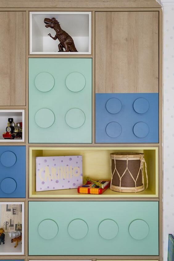 Guarda roupa infantil menino azul e verde para quarto