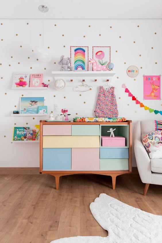 Guarda roupa infantil com cômoda colorida