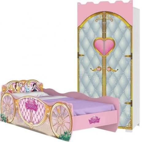 Cama com guarda roupa infantil das princesas