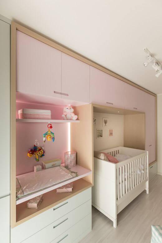 Guarda roupa infantil rosa e branco para quarto de bebê