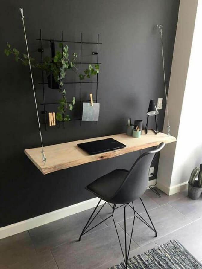home office decorado com tinta cinza chumbo parede Foto Pinterest
