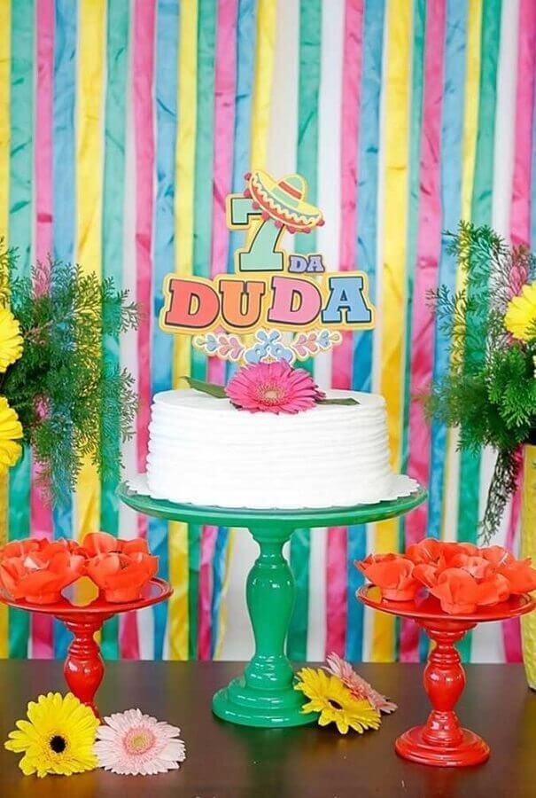 ideia de bolo festa mexicana infantil simples Foto Pinterest
