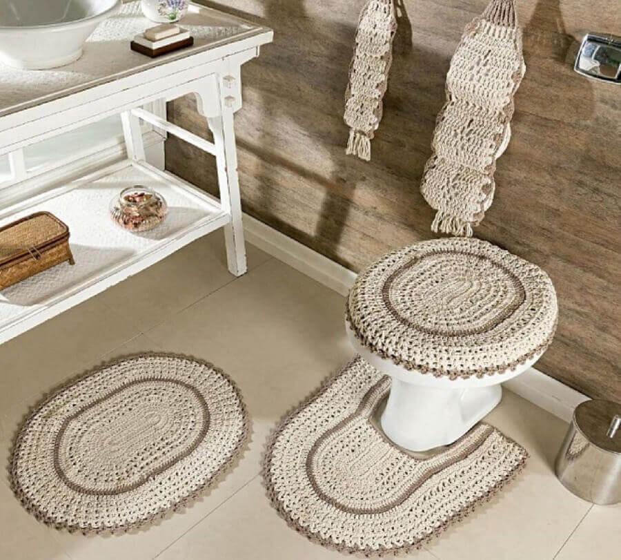 jogo de tapete de crochê para banheiro Foto Dcore Você