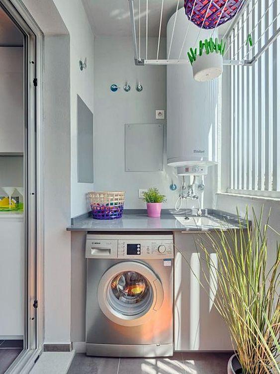 Lavandeira com varal de teto como instalar