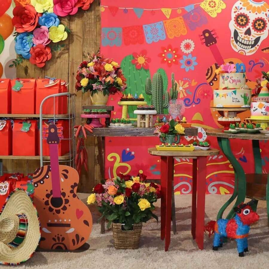 beautiful decoration for colorful mexican skull party Photo Impresse Party