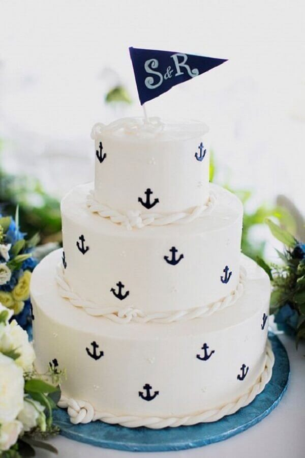 beautiful custom cake for messenger boy sailor theme Photo My Party