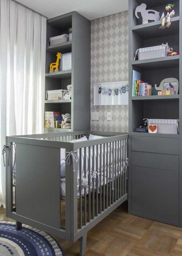 móveis planejados para quarto de bebê cinza Foto Pinterest