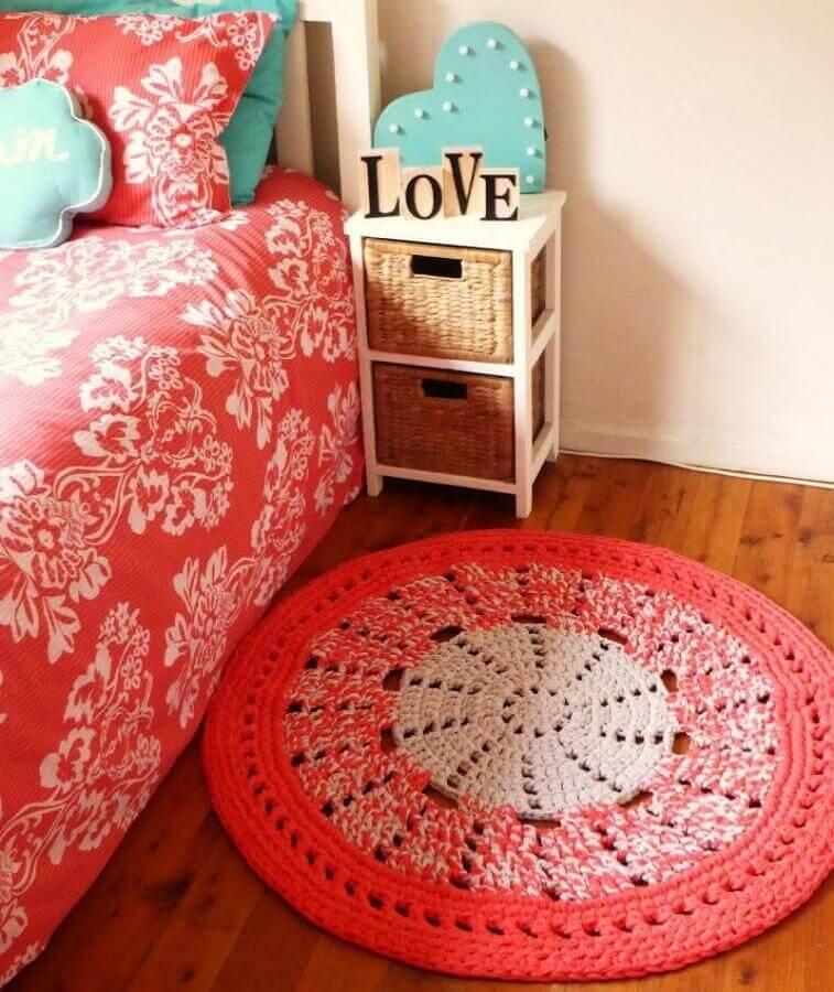 modelo de tapete de crochê redondo para quarto Foto Pinterest