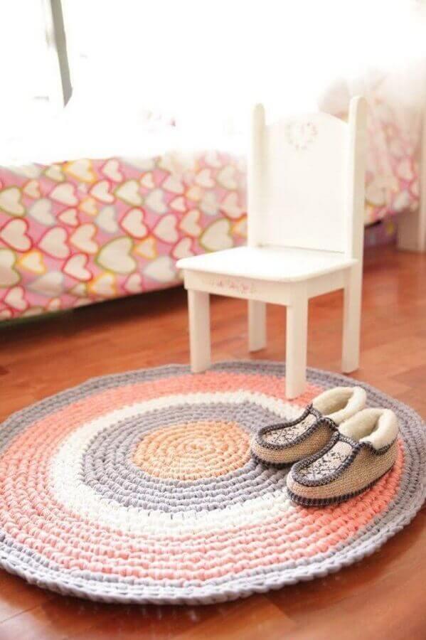modelo redondo de tapete de crochê para quarto Foto Pinterest