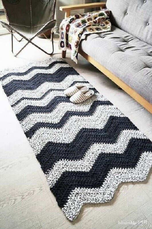 modelo simples de tapete de crochê passadeira Foto Pinterest