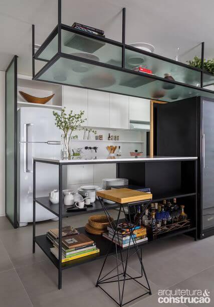 Móveis de ferro para cozinha com armário branco