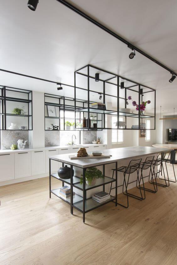 Móveis de ferro para cozinha moderna estilo industrial