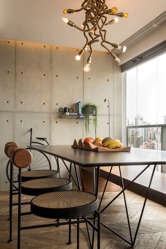 Móveis de ferro para cozinha moderna com lustre diferente