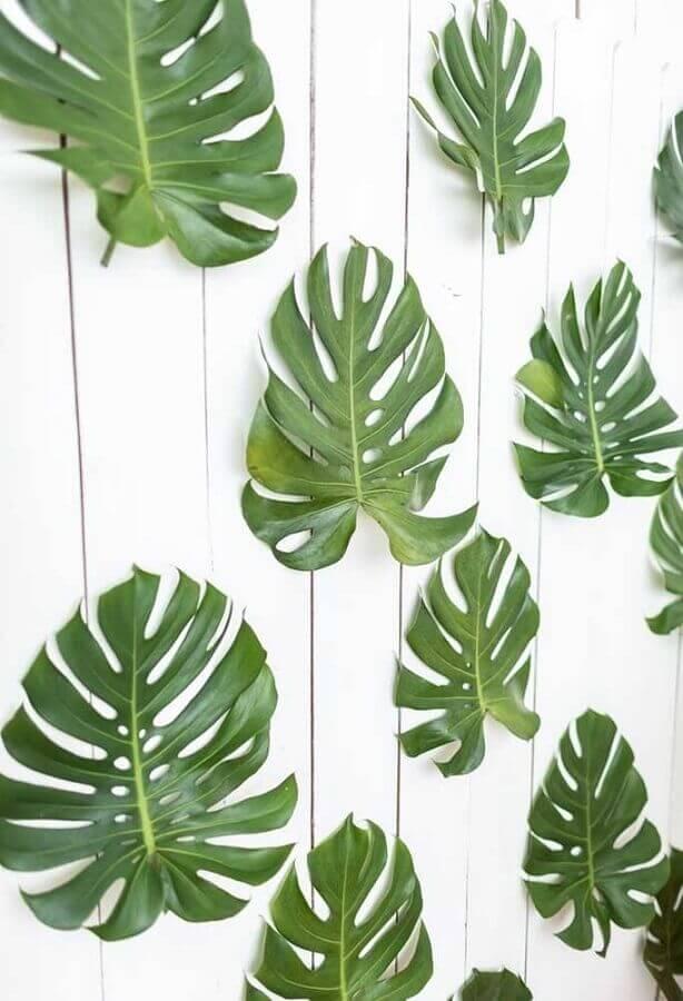 painel com folhas de costela de adão para decoração de festa infantil simples Foto Party With Lenzo