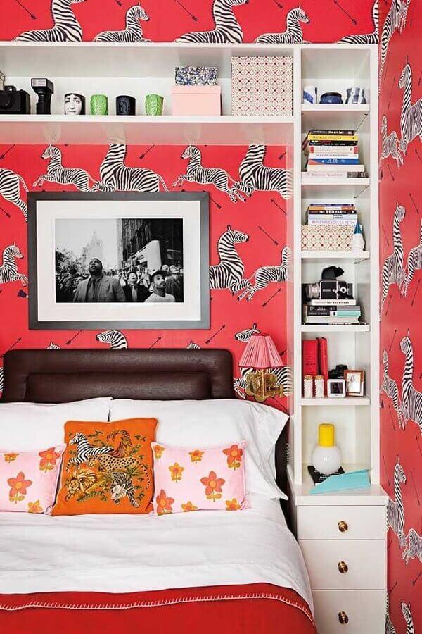 papel de parede com desenho de zebras para decoração de quarto de solteiro feminino Foto Webcomunica