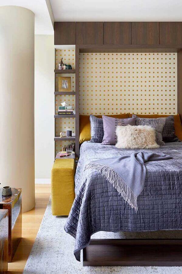papel de parede com quadradinhos amarelos para quarto de solteiro feminino planejado Foto Houzz