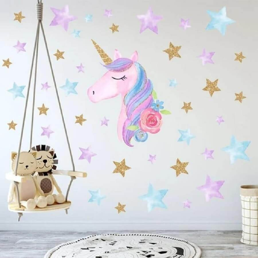 papel de parede e balanço para decoração de quarto de unicórnio Foto Pinterest