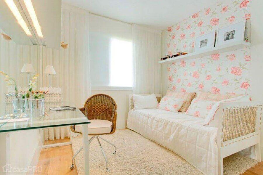 papel de parede floral para quarto de solteiro feminino com escrivaninha de vidro Foto Ultimas Decoração