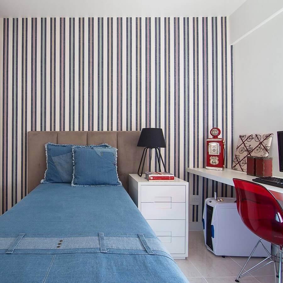 papel de parede listrado para decoração de quarto simples e bonito Foto Pinterest