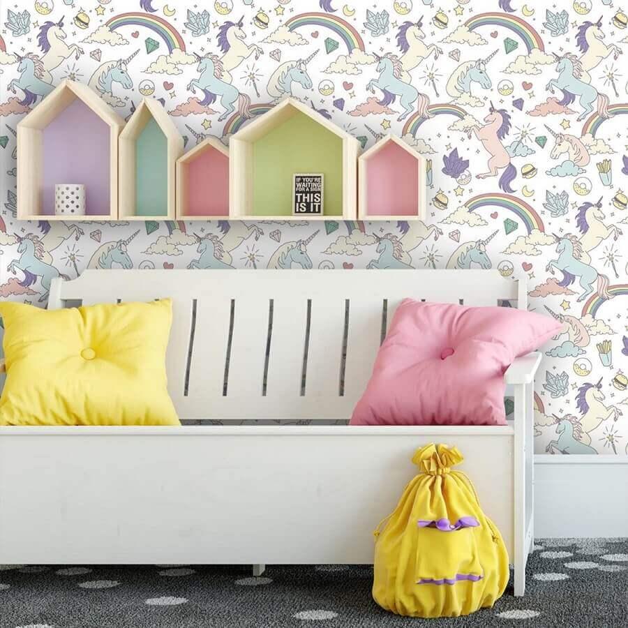 papel de parede para decoração de quarto de unicórnio Foto Papel na Parede
