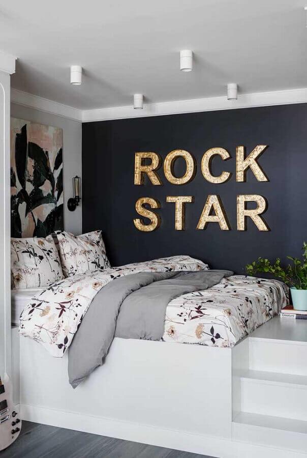 parede preta para decoração moderna de quarto de solteiro feminino planejado Foto Home Fashion Trend