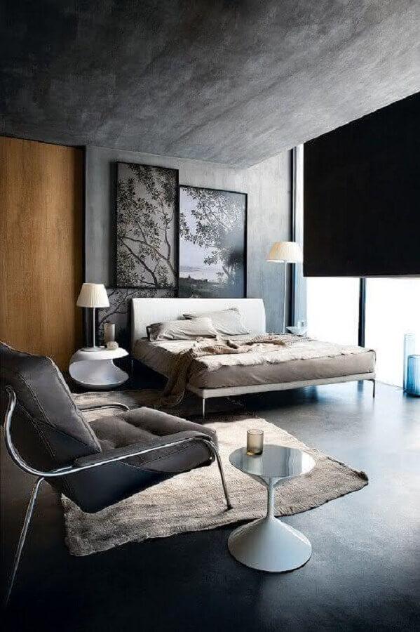 poltrona cinza chumbo para quarto de casal moderno com cimento queimado Foto Pinterest