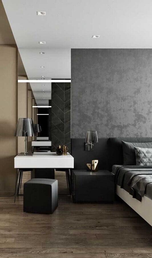 quarto cinza moderno decorado com abajur de cabeceira Foto Architecture Art Designs