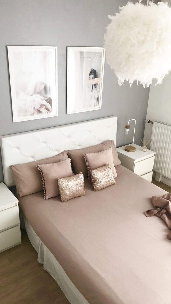 Saia para cama box casal com roupa de cama rose