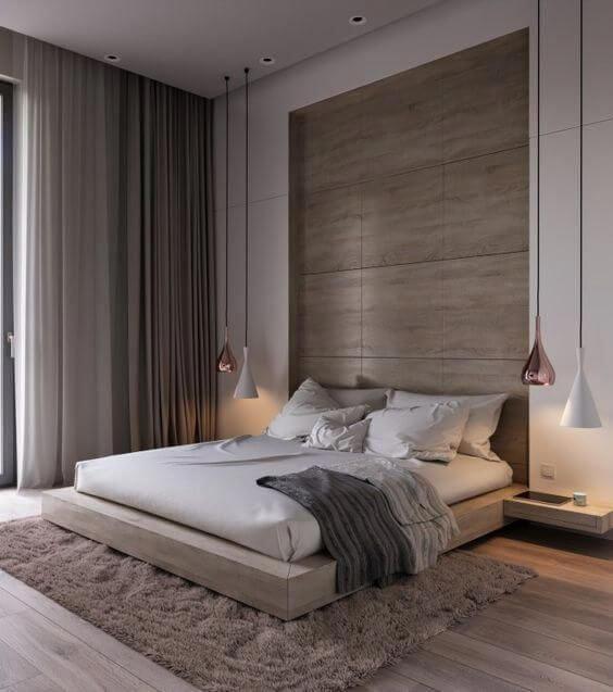 Quarto moderno com cortineiro de gesso embutido