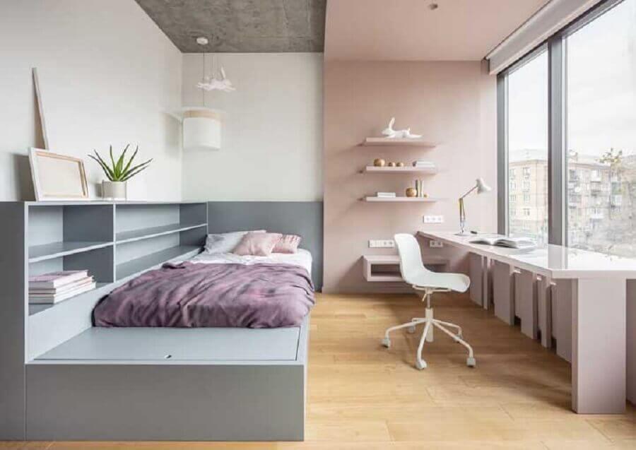 quarto de solteiro feminino planejado cinza e rosa Foto Pinterest