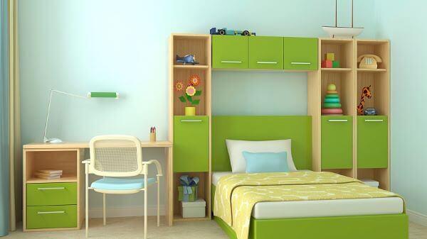 Quarto verde com guarda roupa infantil