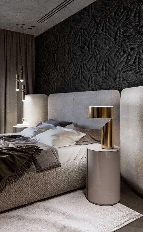 quarto moderno decorado com papel de parede preto e abajur dourado diferente Foto Architecture Art Designs