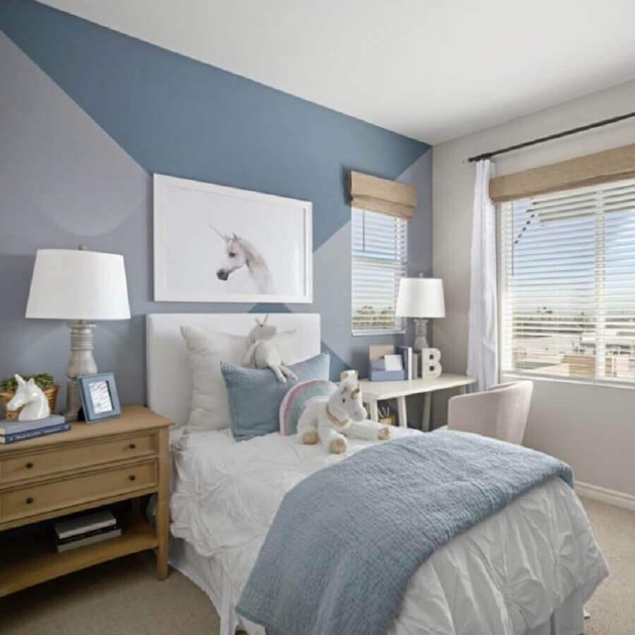 quarto de unicórnio azul e branco com decoração jovem Foto Pinterest