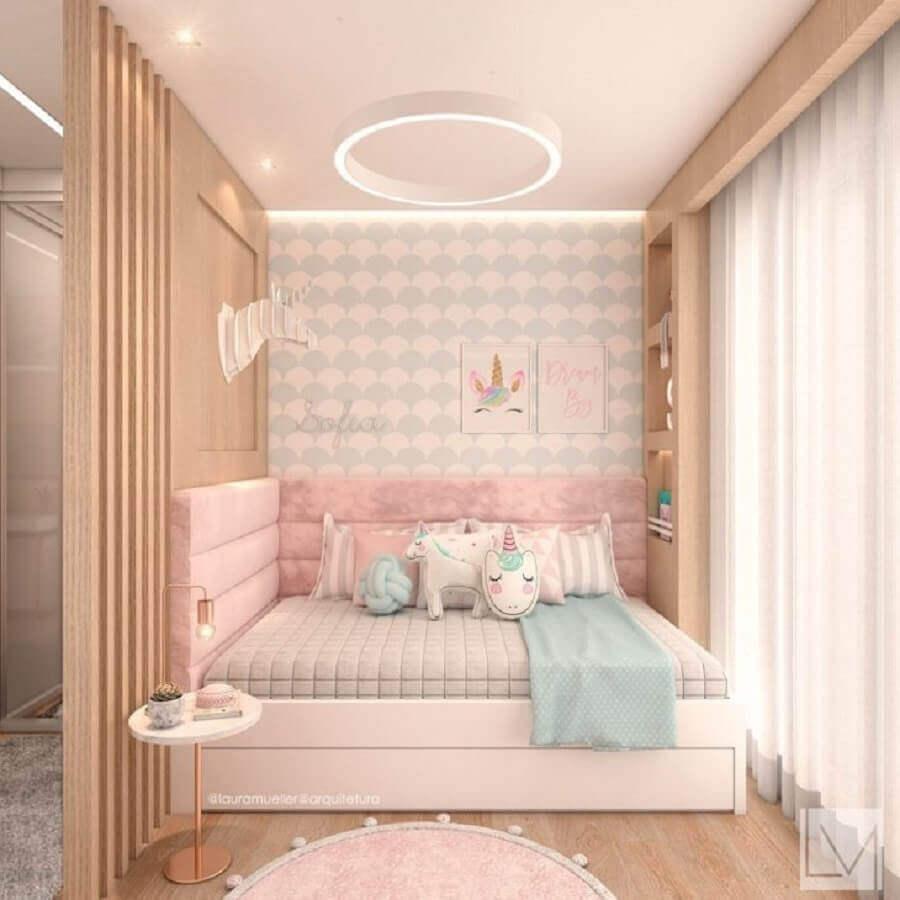 quarto de unicórnio jovem planejado decorado em tons pastéis Foto Laura Mueller