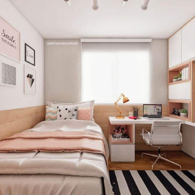 quartos bonitos de solteiro decorado com bancada de estudos Foto Dicas de Mulher